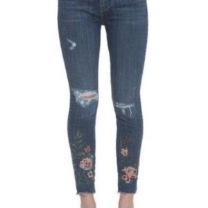 Drift wood embroidered jeans